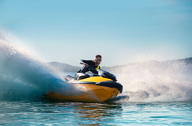 Father & son fishing from Sea-Doo GTI